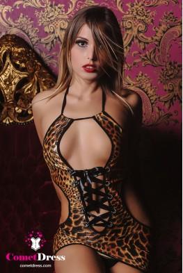 Állatmintás magasfényű miniruha, oldalt karcsúsító ívvel
