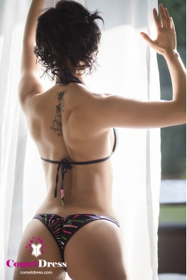 Stripy fitness bikini